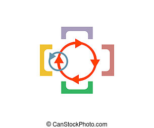 Abstract logo design template. Science technology, Teamwork, Social Network, Community.