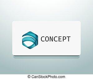 Abstract logo design, wave shape hexagon. Business concept