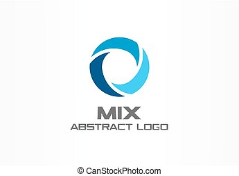 Abstract logo for business company. Corporate identity design element. Globe, teamwork, healthcare, aqua swirl Logotype idea. Water blue, circle three segment mix concept.