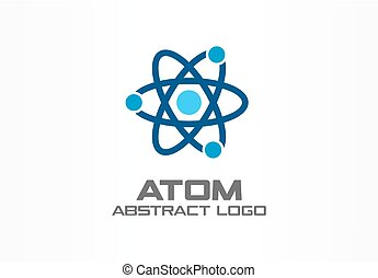 Abstract logo for business company. Corporate identity design element. Infinity atom energy, orbit connect, nuclear reactor core, nuclear logotype idea.