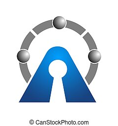 Abstract logo for business company. Corporate identity design element. Real estate, safety lock