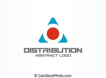 Abstract logo for business company. Corporate identity design element. Cargo box and arrows around, delivery, export, integrate concept. Technology, Logistic, Distribution logotype idea.