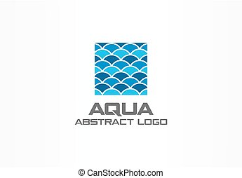 Abstract logo for business company. Nature, ocean, eco, science, healthcare Logotype idea. Ecology, blue, sea, water wave in square concept. Colorful Vector icon
