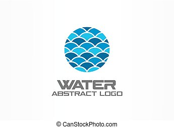 Abstract logo for business company. Nature, ocean, eco, science, healthcare Logotype idea. Ecology, blue, sea, water wave in circle concept. Colorful Vector icon