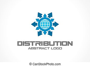 Abstract logo for business company. Technology, Industrial, Logistic, Distribution Logotype idea. Arrow, globe, world, worldwide delivery concept. Vector icon