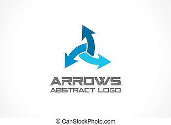 Abstract logo for business company. Technology, Industrial, Logistic, Distribution Logotype idea. Arrow mix, delivery, interaction, integrate concept. Vector icon