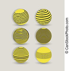 abstract logo globe icon set with black lines in yellow circle