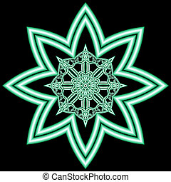 abstract logo in the form of a flower with fractal ornament on a black background