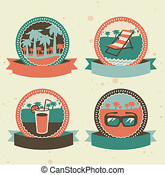 abstract logo - retro labels with summer icons