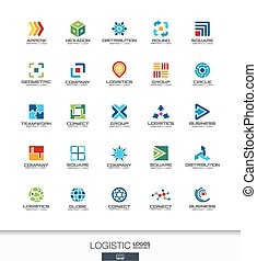 Abstract logo set for business company. Export, transport, delivery and distribution concepts. Logistic, shipping logotype collection. Colorful Vector icons
