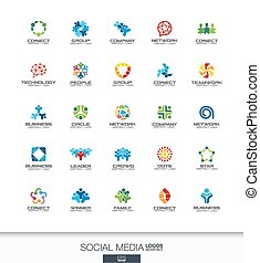 Abstract logo set for business company. Network, social media and internet concepts. People connect, subscriber, follower logotype collection. Colorful Vector icons