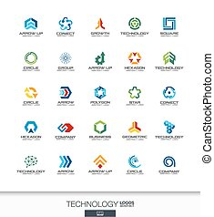 Abstract logo set for business company. Technology, social media, internet and network concepts. Digital connect logotype collection. Colorful Vector icons