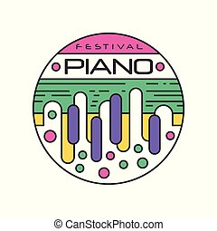 Abstract Logo Template For Music Festival Creative Linear Sticker With Colorful Piano Keys Musical