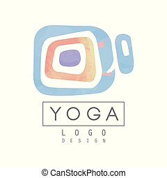 Abstract logo template for yoga studio or meditation center. Watercolor painting. Alternative medicine and wellness concept. Healthy lifestyle. Hand drawn vector design