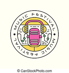 Abstract logo template with retro microphone and headphones. Music festival concept. Emblem in line style with colorful fill. Vector design for badge, label or poster