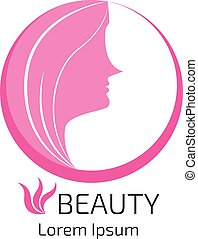 abstract logo woman face design, head, hair, for beauty salon, spa, cosmetics design, advertising, presentation. vector illustration.