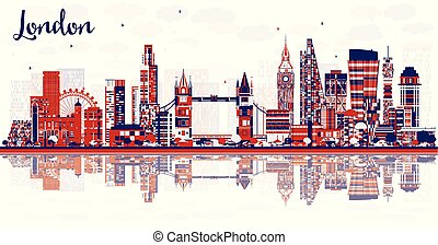 Abstract London England City Skyline with Color Buildings and Reflections.