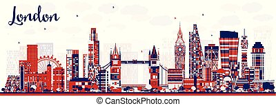 Abstract London England City Skyline with Color Buildings.