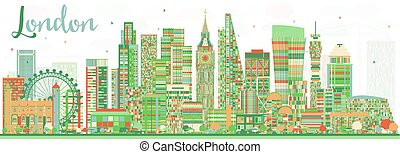 Abstract London Skyline with Color Buildings.