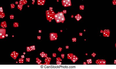 Abstract Loop Animations featuring Red Dice Floating in ...