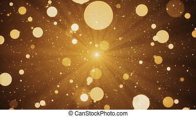 Abstract loop background Shimmering particles glitter light falling glow bokeh glare effect.