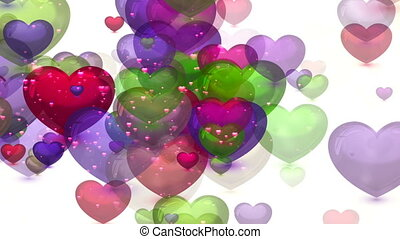 Abstract Loopable Background, flying hearts and particles