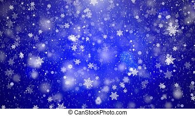Abstract Loopable Background With Nice Falling Blue Snow Snowflakes