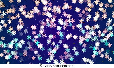 Abstract Loopable Background with nice falling snowflakes
