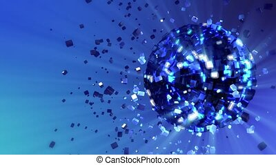 Abstract looped animated background: pulsating and spinning glow disco ball composed of cubes-crystals with blue shinny streaks of light and shards of crystals rotating around and reflecting rays