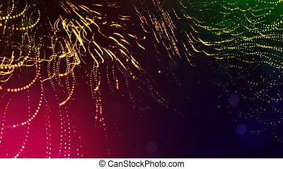 abstract looped dynamic garlands of luminous particles for decoration of Christmas and New Year's compositions. Abstract particle background with depth of field. Red v4