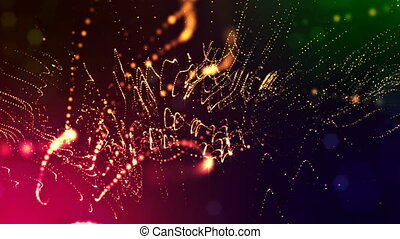 abstract looped dynamic garlands of luminous particles for decoration of Christmas and New Year's compositions. Abstract particle background with depth of field. Red v6