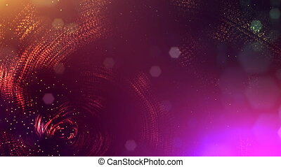abstract looped dynamic garlands of luminous particles for decoration of Christmas and New Year's compositions. Abstract particle background with depth of field. Red v11