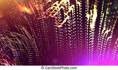 abstract looped dynamic garlands of luminous particles for decoration of Christmas and New Year's compositions. Abstract particle background with depth of field. Red v8