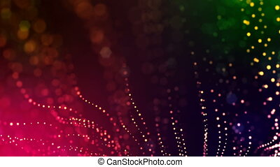 abstract looped dynamic garlands of luminous particles for decoration of Christmas and New Year's compositions. Abstract particle background with depth of field. Red v2