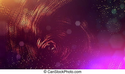 abstract looped dynamic garlands of luminous particles for decoration of Christmas and New Year's compositions. Abstract particle background with depth of field. Red v12