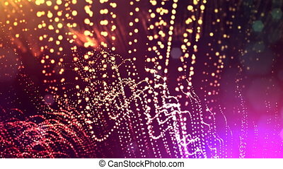 abstract looped dynamic garlands of luminous particles for decoration of Christmas and New Year's compositions. Abstract particle background with depth of field. Red v7
