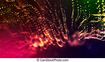 abstract looped dynamic garlands of luminous particles for decoration of Christmas and New Year's compositions. Abstract particle background with depth of field. Red v1