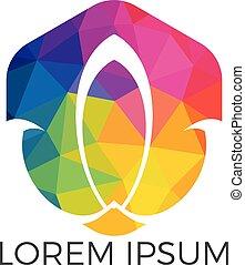 Abstract lotus flower logo design.