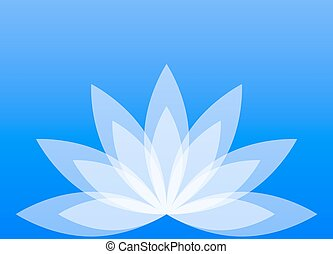 Abstract lotus flower on a blue background