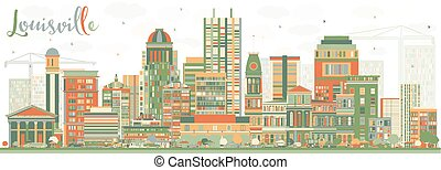 Abstract Louisville Skyline with Color Buildings.