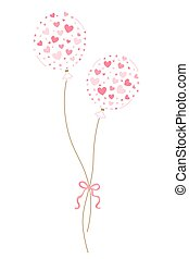 Abstract love balloon with little pink hearts for Valentine's Day.