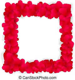 Red hearts square frame isolated on white
