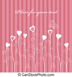 abstract love flowers card. Retro style