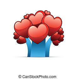Abstract Love Tree. Red Hearts