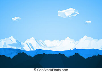 Abstract low poly background with icy mountain and white clouds flying in the air . Early morning sunny illustration with blue sky .