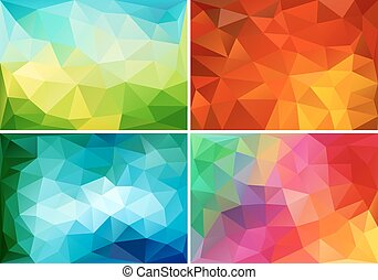 abstract low poly backgrounds set - abstract colorful low ...