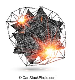Abstract low poly black object with grid and fire light around