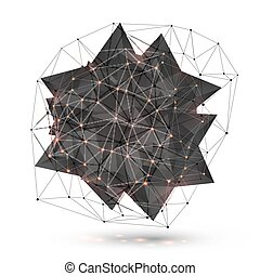 Abstract low poly black object with polygonal grid around