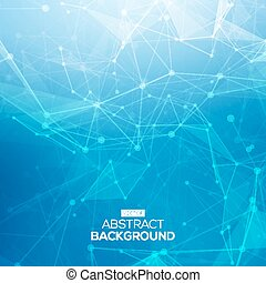 Abstract low poly blue bright technology vector background. Connection structure. Vector data science background. Polygonal vector background. Molecule And Communication Background.