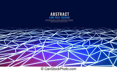 abstract low poly connection in perspective technology background